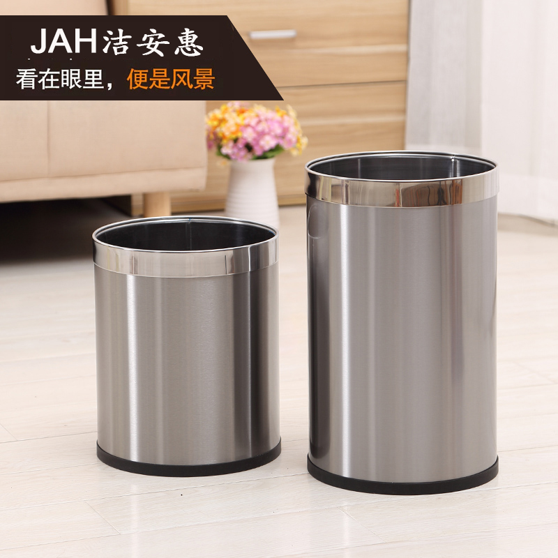 Kitchen bathroom round stainless steel metal waster paper basket