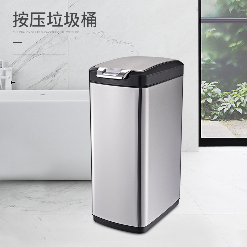 Hotel room plastic inner bucket stainless steel waste dustbin