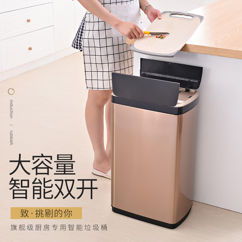 Two-wing induction trash can